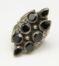 Sterling Silver & Faceted Black Onyx Multi Stone Long Statement Ring Size 7.5