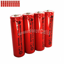 10 pcs AA LR06 3000mAh 1.2V NI-MH rechargeable battery CELL/RC MP3 2A SILVER RED