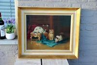 Flemish school oil canvas kittens cats animal painting signed Merson 1950s n2