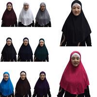 One Piece Amira Long Khimar Hijab Veil Scarf Muslim Abaya Jilbab Niqab Headcover