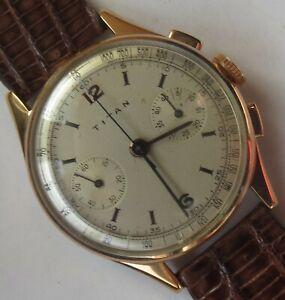 Titan chronograph mens wristwatch gold plated case original dial cal. Venus 175