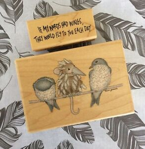 House Mouse Wood Mount Rubber Stamp Feathered Friends +My Words Had Wings Phrase