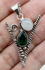 """925 Sterling Silver Moonstone & Chrome Diospide Gemstone Jewelry Pendant Size-2"""""""