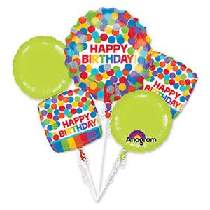 Set/5 Happy Birthday Rainbow Polka Dot Green Balloon Festive Party Decorations