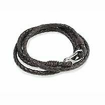 Mens Brown Double Wrap Leather Bracelet With Steel Safety Clasp