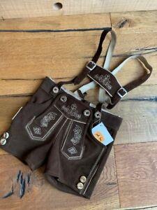 Kidstracht Babylederhose Lederhose Kinderlederhose braun Gr. 62 - 152 Tracht