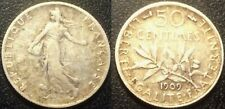 France - IIIème République - 50 centimes semeuse 1909 argent - F.190/16