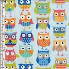 OWLS on light blue quilting fabric ~ per 1/2 YARD
