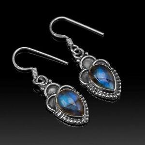 Pear Cut Labradorite 925 Sterling Silver Drop Earrings Gemstone Ladies Jewellery