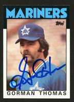 Gorman Thomas #750 signed autograph auto 1986 Topps Baseball Trading Card