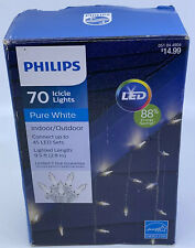 Philips 70 LED Icicle Lights - PURE WHITE - Indoor / Outdoor 9.5ft - Christmas