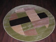 TOP QUALITY WOVEN CIRCLE RUG 140CMx140CM HAND CARVED MODERN DESIGNS GREEN/BROWN
