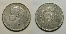 ESPAÑA.  SPAIN. ALFONSO XIII. ALPHONSE XIII.  5 PESETAS 1899*18-99  SGV.   EBC