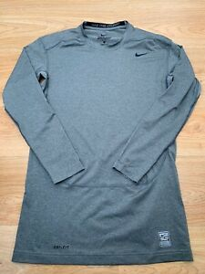 XL Mens Nike Pro Combat DRI-FIT Compression Long Sleeved T-Shirt Top in Grey 99p