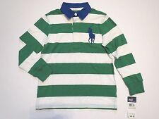 POLO RALPH LAUREN Boys 4 4T Striped Rugby Large Logo Polo Shirt Long Sleeve NWT