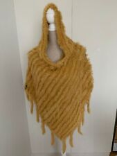Knitted Rabbit Fur Poncho With Hood In Yellow