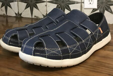 Men's Crocs Santa Cruz Dark Blue Leather Fisherman Sandals Sz 11 EXCELLENT SHAPE