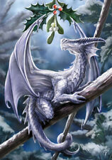 Snow Dragon YULE Card Anne Stokes Dragon with Mistletoe Solstice Holiday Card