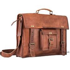 Mens Vintage Handmade Soft Leather Travel Office Briefcase Laptop Bag Satchel