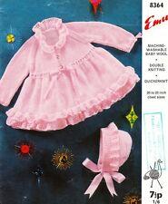 VINTAGE BABY RIBBON & FRILLS coat & bonnet / 8ply - COPY baby knitting pattern