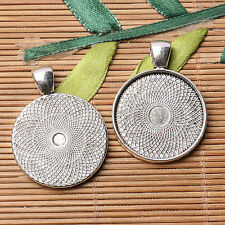 Tibetan silver plated carved round shape 25mm cabochon settings   5pcs  EF3567