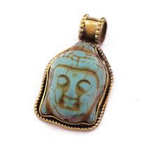 Turquoise Buddha Head Brass Pendant Tibetan Nepalese Handmade Tibet Nepal PD614