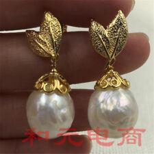 13-14MM HUGE baroque pearl earrings olivine 18K GOLD south sea earbob AAA