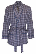 NWT ZIMMERLI Switzerland ROBE grey check cotton belt long jacket luxury M