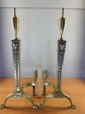 Pair Antique Ornate Neo-Classical Brass Rams Head Paw Feet Andirons 28'' High