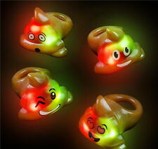 12 LED LIGHT UP FLASHING EMOJI POOP POO RINGS EMOTICON JELLY RING PARTY FAVORS