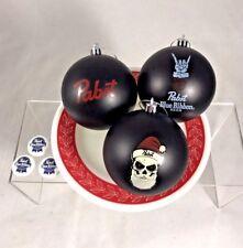 Pabst Blue Ribbon PBR Beer Christmas Ornament Skull Santa Set of 3 + Bonus Pins