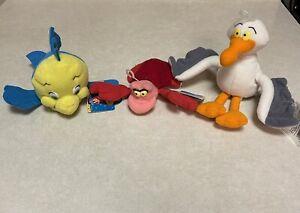 Set of 3 Disney Applause Little Mermaid  Bean Bag Flounder Scuttle Sebastian