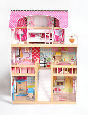Moden Wooden Kids Dollhouse Large Dolls House +17PCS Furniture Barbie Dolls