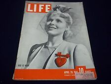 1941 APRIL 28 LIFE MAGAZINE - RED IS RIGHT - WWII FRONT COVER - GG 1503