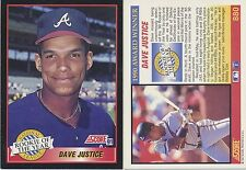 Lot of 12 Dave Justice, Rookie of Year, Score 91 #880MLB 1991Baseball cards NM/M