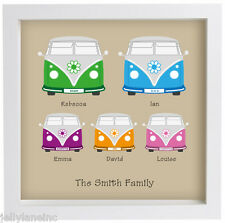 Personalised Modern Campervan Family Framed Print  in a 23cm x 23cm Box Frame