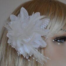 Ramillete Rosa Cuentas Blanco Flores Pinza para el Cabello Goma Pelo Brosche