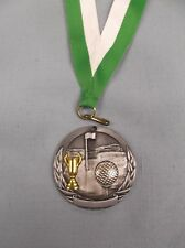 "silver GOLF cup medal 2"" dia green/white neck drape"