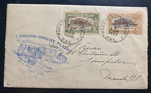 1928 Puerto Princesa Philippines Special London Orient Flight Airmail To Manila