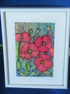 Original Painting on silk of Long Headed Poppies by E.Hopkinson