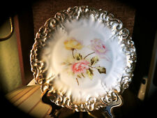 Vintage Dresden Germany 8 inch Plate with Pink and Yellow Roses