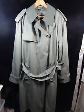 Men's English Squire Green Button Down Trench Coat w/ Belt; Size 46 Tall; Korea