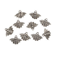 10pcs Antique Silver Bee Charms Honeybee Pendant Jewelry Making Findings PHA