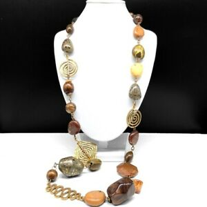 Chico's Long Beaded Statement Necklace Chunky Boho Wood Beads Gold Swirl Chain