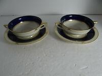 Princess China Czechoslovakia Set 2 Cream Soup Bowls & Underplates Cobalt Gold