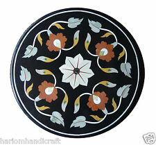 2'x2' Marble Side Coffee Corner Table Top Inlay Marquetry Mosaic Floral H1293