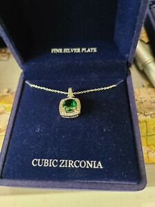 Macys Fine Silver Plated Faux Emerald And Cubic Zirconia Pendant