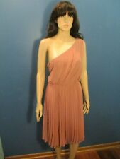 Size 10 pink NWT ONE SHOULDER, PLEATED, LINED FORMAL dress by MANGO