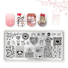 BORN PRETTY Nail Stamping Plates Rectangle Rose Nail Art Valentine's Day Plate