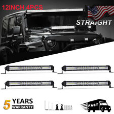"4x 12"" inch Single Row 208W Led Light Bar Spot Flood Combo Offroad 4WD vs 42INCH"